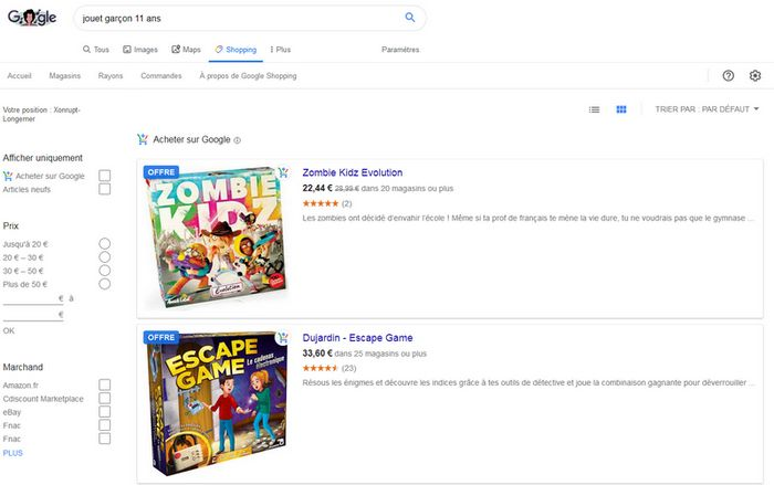 vente google shopping